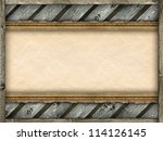 Template background - picture frame, wood and old paper - stock photo