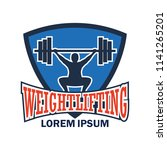 weight lifting logo with text... | Shutterstock .eps vector #1141265201