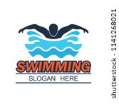 swimming logo with text space... | Shutterstock .eps vector #1141268021