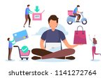 shopping online process.... | Shutterstock .eps vector #1141272764