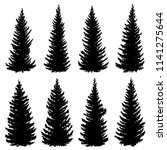 set of vector silhouettes of... | Shutterstock .eps vector #1141275644