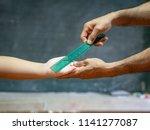 teacher use the ruler hit the... | Shutterstock . vector #1141277087