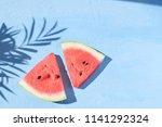 fresh red watermelon slice... | Shutterstock . vector #1141292324