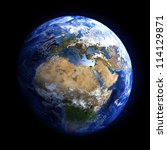 the earth from space showing...   Shutterstock . vector #114129871