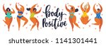 body positive. happy girls are... | Shutterstock .eps vector #1141301441