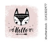 vector card with cute fox.... | Shutterstock .eps vector #1141302977