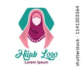hijab logo with text space for... | Shutterstock .eps vector #1141303364