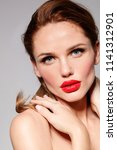 beautiful young model woman... | Shutterstock . vector #1141312901