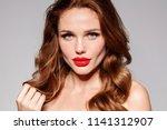 beautiful young model woman... | Shutterstock . vector #1141312907