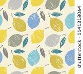 seamless background with lemons ... | Shutterstock .eps vector #1141318064