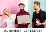 girl brushing hair while men...   Shutterstock . vector #1141327364
