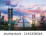 petrochemical plant on sunset... | Shutterstock . vector #1141328264
