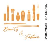 makeup. decorative cosmetics ... | Shutterstock .eps vector #1141330907