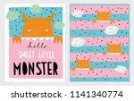 cute hand drawn vector monster... | Shutterstock .eps vector #1141340774