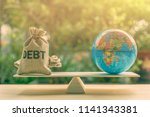 world or global   national debt ... | Shutterstock . vector #1141343381