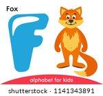 blue letter f and orange fox....   Shutterstock .eps vector #1141343891
