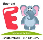 pink letter e and gray elephant.... | Shutterstock .eps vector #1141343897