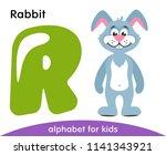 green letter r and blue rabbit. ...   Shutterstock .eps vector #1141343921