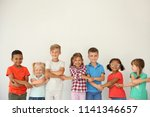 little children holding hands... | Shutterstock . vector #1141346657