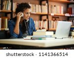 female student study in the... | Shutterstock . vector #1141366514