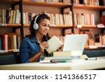 female student study in the... | Shutterstock . vector #1141366517