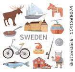sweden traditional symbols... | Shutterstock .eps vector #1141368074