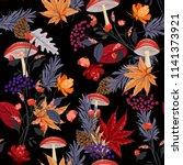dark autumn night garden... | Shutterstock .eps vector #1141373921