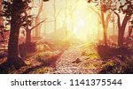 magical forest at sunrise ... | Shutterstock . vector #1141375544