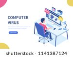computer virus concept with... | Shutterstock .eps vector #1141387124