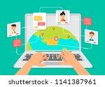 businessmen discuss  social...   Shutterstock .eps vector #1141387961