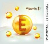 vitamin e gold shining icon....   Shutterstock .eps vector #1141388567