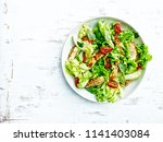 chicken salad with lettuce ... | Shutterstock . vector #1141403084