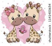 two cute cartoon giraffes on a...   Shutterstock .eps vector #1141403654