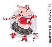 cute pig is skating. she is in... | Shutterstock .eps vector #1141412474