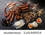 raw seafood   king crab  prawn... | Shutterstock . vector #1141440914
