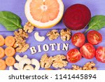 inscription biotin with healthy ... | Shutterstock . vector #1141445894