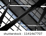 industrial premises with sloped ... | Shutterstock . vector #1141467707