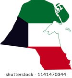 kuwait flag country map shaped...   Shutterstock .eps vector #1141470344