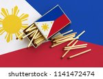 philippines flag  is shown on... | Shutterstock . vector #1141472474