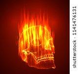 vector. human skull. dots and... | Shutterstock .eps vector #1141476131