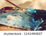 artist's palette  close up.... | Shutterstock . vector #1141484837