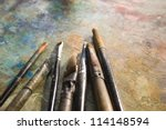 wooden art palette with blobs... | Shutterstock . vector #114148594