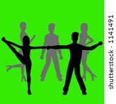 silhouettes of people dancing | Shutterstock .eps vector #1141491