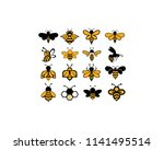 bee animal icon. honey flying... | Shutterstock .eps vector #1141495514