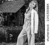black white portrait of... | Shutterstock . vector #1141500884