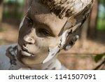 weathered weird mannequin face | Shutterstock . vector #1141507091
