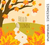 vector fall card with maple... | Shutterstock .eps vector #1141526621