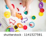 baby girl toddler playing and... | Shutterstock . vector #1141527581