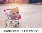 shopping concept   cartons or... | Shutterstock . vector #1141529654