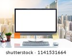 desktop mockup  workspace... | Shutterstock . vector #1141531664